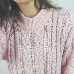 Vintage Soft Pink Cable Knit Mock Neck Sweater